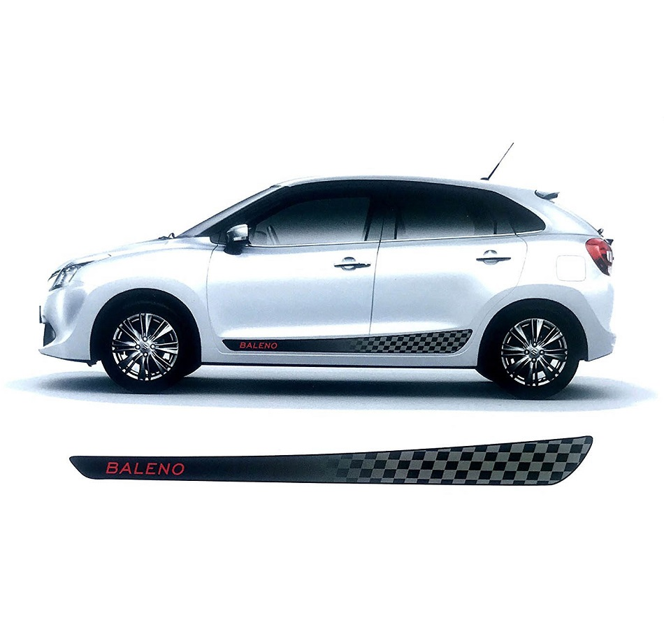 Buy quara black grey car side decal full body sticker graphics for maruti suzuki new baleno 0254 online in india at best prices