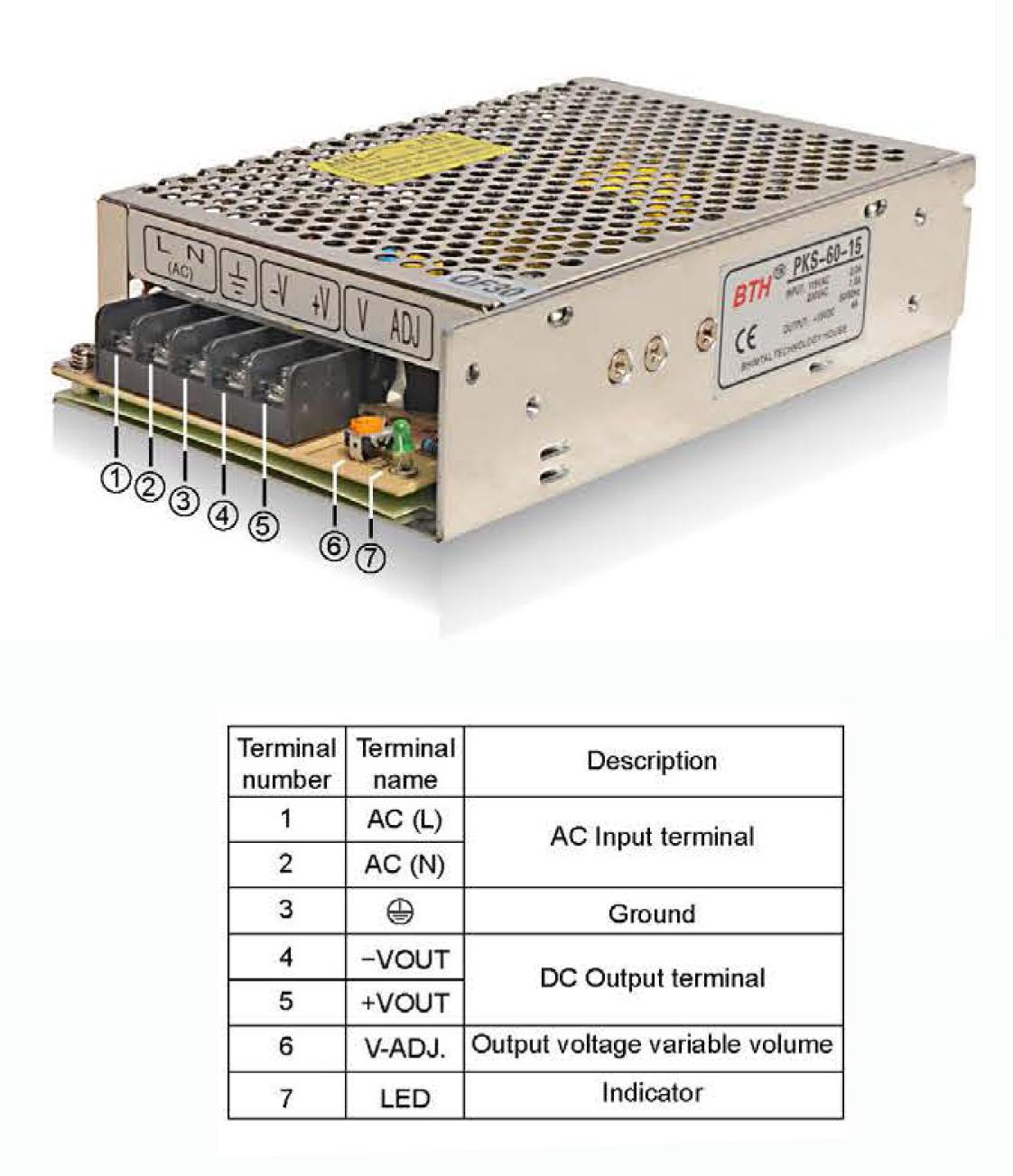BTH DC Single Output SMPS - PKS-60-15