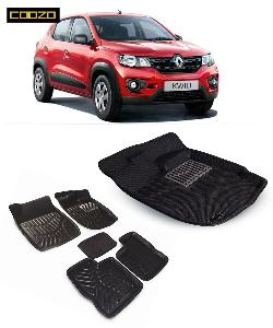 Coozo 3d Car Mat For Renault Kwid Black Color
