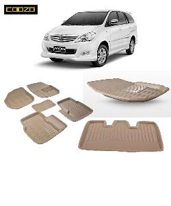 Coozo 3d Car Mat For Toyoto Innova With Dicky Beige Color