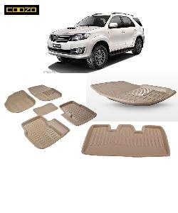 Coozo 3d Car Mat For Toyoto Fortuner Beige Color