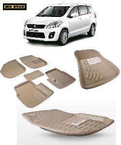 Coozo 3d Car Mat For Maruti Ertiga With Dicky Beige Color