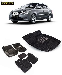 Coozo 3d Car Mat For Toyoto Etios Black Color