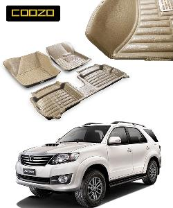 Coozo 5d Car Mat For Toyoto Fortuner With Dicky Beige Color