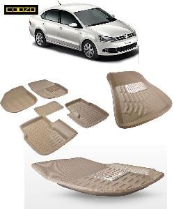 Coozo 3d Car Mat For Volkswagen Vento Beige Color