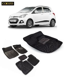 Coozo 3d Car Mat For Hyundai I10 Grand Black Color