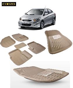 Coozo 3d Car Mat For Hyundai Verna Fludic Beige Color