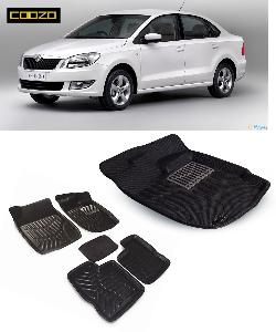Coozo 3d Car Mat For Skoda Rapid Black Color