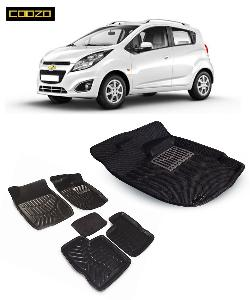 Coozo 3d Car Mat For Chevrolet Beat Black Color