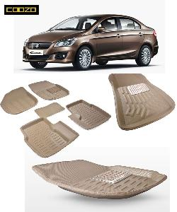 Coozo 3d Car Mat For Maruti Ciaz Beige Color