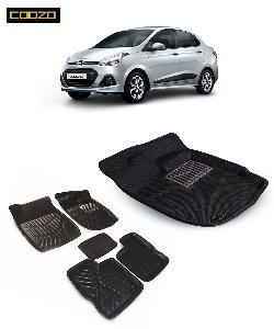 Coozo 3d Car Mat For Hyundai Xcent Black Color