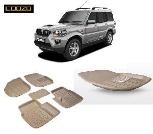 Coozo 3d Car Mat For Mahindra Scorpio Beige Color
