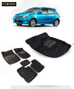 Coozo 3d Car Mat For Toyoto Etios Liva Black Color