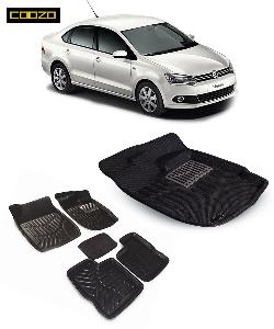 Coozo 3d Car Mat For Volkswagen Vento Black Color