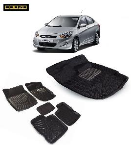 Coozo 3d Car Mat For Hyundai Verna Fludic Black Color