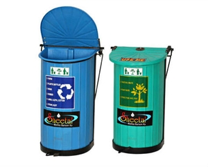 Sheetal Waste Bin Blue 150 L Slanter Lldpe With Ms Frame