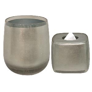 Plumeria Resin Roly Poly Silver Wastebasket & Boutique Tissue 1 Set Rp89sil