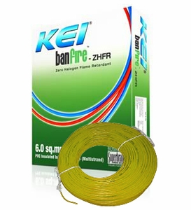 Kei Ban Fire Zero Halogen Fire Retardant Cable Yellow 90 M 6 Sq.Mm