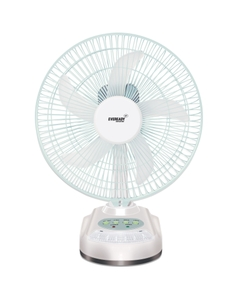 Eveready Rf04 10 Inch 5 Blade White Rechargeable Led Table Fan