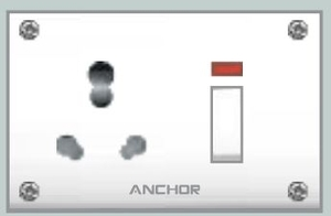 Anchor Uni.S.S.Neoncombined(4fixingholes) Socket With Switch 38794