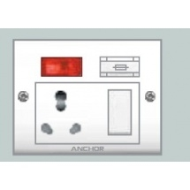 Anchor Euro Capton 5-In-1 (2 Fixing Holes) Socket With Switch 39550