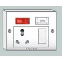 Anchor Capton 5-In-1 With Box(2 Fixing Holes) Socket Switch