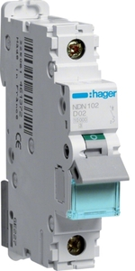 Hager Ndn102n 1 Pole D Curve Type 2 A Mcb
