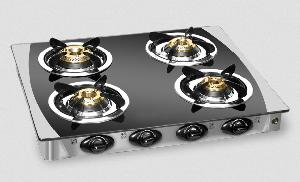 Padmini Essentia 4 Burners Black Gas Stove - Cs-4gt Crystal Black