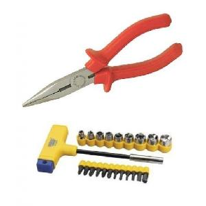 Bizinto Combo Of Long Nose Plier & 22 Pcs T-Bar Screwdriver Set