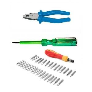 Bizinto Combo Of Plier, Line Tester & 31 Pcs Jackly Screwdriver Set