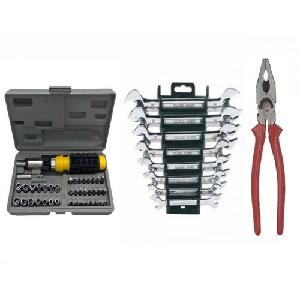 Attrico Combo Of 41 Pcs Screwdriver, 1 Pc Plier And 8 Pcs Spanner Set