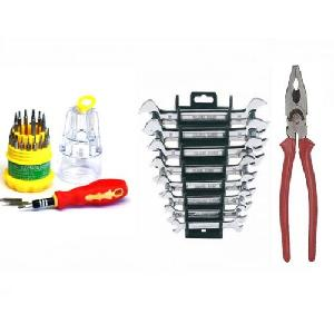 Attrico Combo Of 31 Pcs Screwdriver, 1 Pc Plier And 8 Pcs Spanner Set