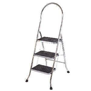 Youngman 3 Step Chrome Steel Stool Ladder Cs-3 Chrome