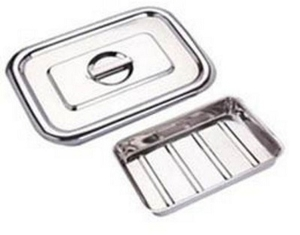Ib Basics Stainless Steel Instrumental Tray With Cover 9x6 Inch
