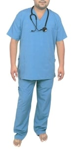 Ib Basics V-Neck Unisex Scrub Suit Set Blue 85030-S