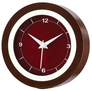 Asian Round Brown And White Wall Cum Table Clock 53