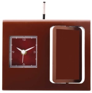 Asian Square Dark Brown Table Clock Cum Pen Stand 67