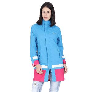 Versalis Womens Maria Long Raincoat Size M Blue Vs07frct000003c00m