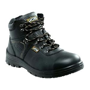 Jcb Excavator Grain Textured Leather Steel Toe Safety Shoes Size: 5