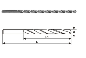 Miranda Tools Extra Long Series Parallel Shank Drills (Size 6.50 Mm, Overall Length 250 Mm)