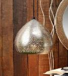 Noble Electricals Silver Ciara Etched Metal Pendant Light NED11.57