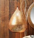 Noble Electricals Gold Dew Drop Etched Metal Pendant Light NED11.59
