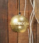 Noble Electricals Gold Ambert Etched Metal Ball Pendant Light NED11.63