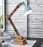 Noble Electricals Himaliya Sky Blue Study Wooden Table Lamp NED13.21
