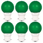 Luminous 0.5W LED Bulb Amber ECO B22D Green - Pack Of 6